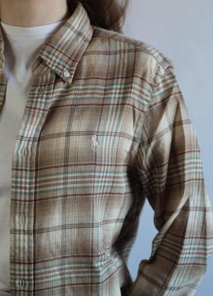 Рубашка в клетку фланелевая плотная polo by ralph lauren