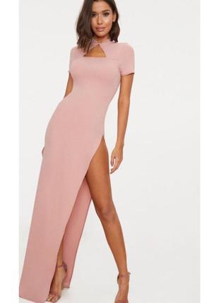 Розовое платье макси в пол длинное вечернее рожева сукня максі вечірня