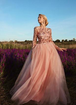Платье длинное с пайетками вечернее ❤ фатин