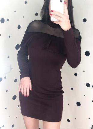 Платье с сеточкой и рюшечкой