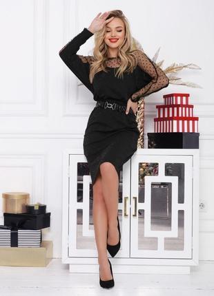 Черное блестящее платье летучая мышь