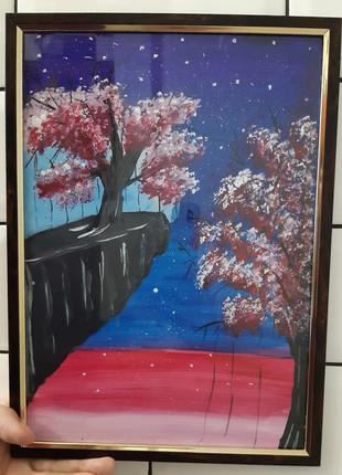 Картина ночь, дерево, луна