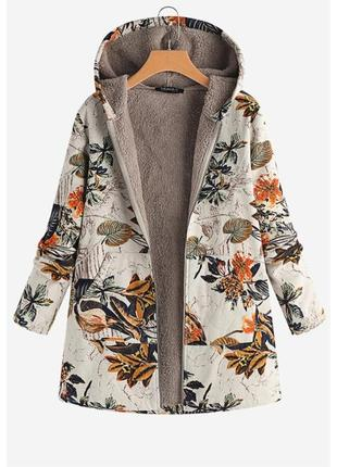 Пальто с капюшоном на меху в принт gracila