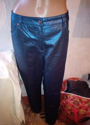 Синие блестящие штаны батал большой размер