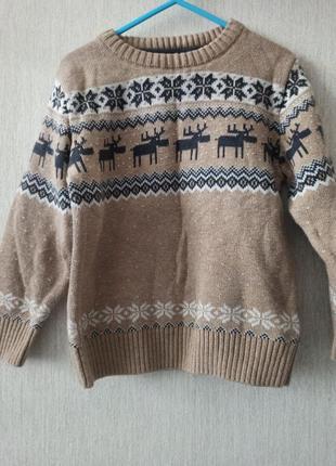 Детский свитер с оленями next