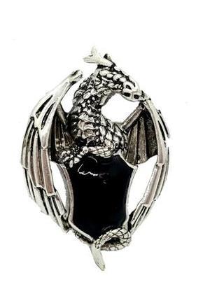"""🐉🔥 брошь-кулон """"дракон со щитом"""" черная эмаль серебристый"""