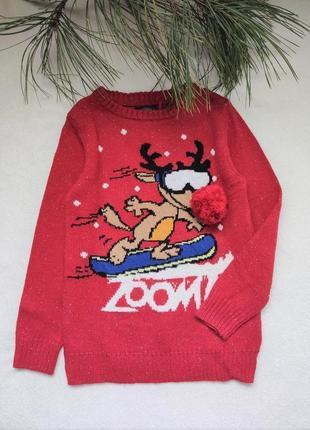 Детский новогодний свитер с оленем от next (81), 7 лет