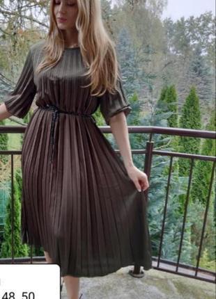 Плиссированное платье свободного кроя