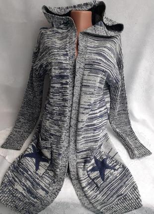 Кардиган ⭐ с капюшоном ❄ вязанный трикотажный шерстяной кофта удлиненная
