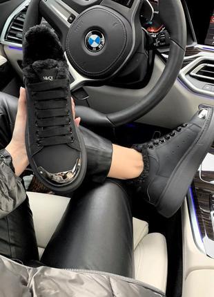 Кроссовки кожаные черного цвета с черным мехом alexander mcqueen 814