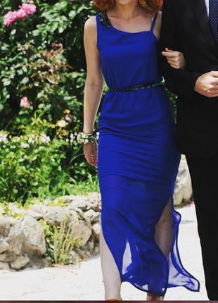 Длинное платье в пол, вечерние, цвет электрик,шифон