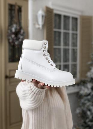 Зимние женские ботинки timberland белые (тимберленд, черевики)