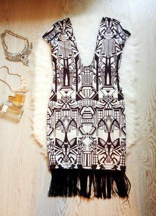 Платье короткое в принт с бахромой рисунками глубокий вырез декольте секси гетсби