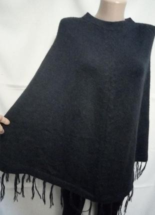 Теплое вязаное пончо, альпака, размер до 16,   №7kt