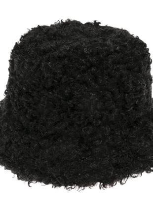 Шляпа панама   меховая  каракуль черная тренд сезона