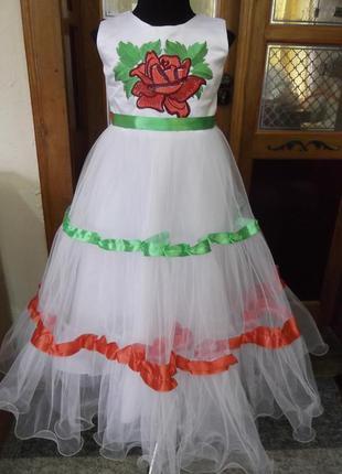 Детское платье в национальном стиле с машинной вышивкой, вышиванка