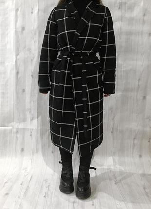 Новое зимнее длинное пальто в клетку, клетчатое с утеплителем на синтепоне