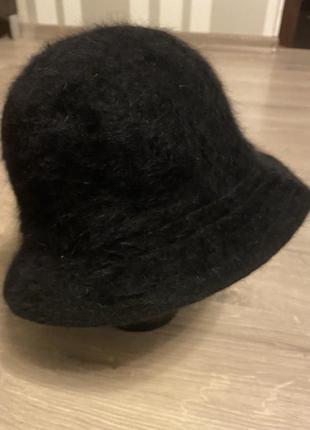 Классная чёрная шляпа панама пушистая 80% ангоры