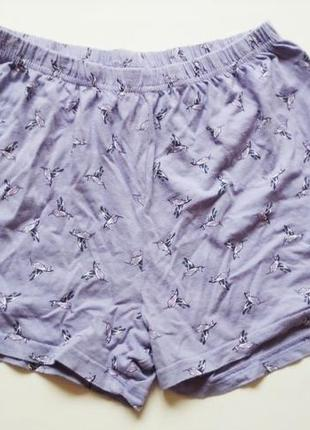 Шорты фиолетовые сиреневые с птицами тверк пол денс пилон пижамные шорти пижама хлопковые