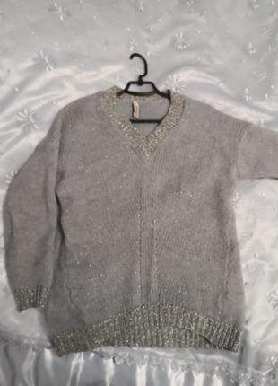 Пуловер с добавлением мохера