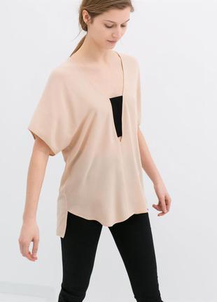 Шикарна блуза ніжного рожево-бежевого кольору zara