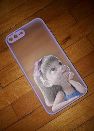 Чехол на apple iphone 7/8 plus айфон чохол лавандовий прозорий принцеса
