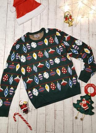 Новогодний свитер унисекс рождественский джемпер елочные игрушки гирлянды погремушки