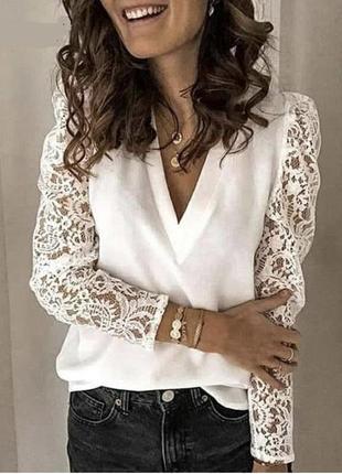 Женская кофта с кружевными рукавами 40-70 размера