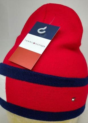 Теплая шерстяная шапка tommy hilfiger красная