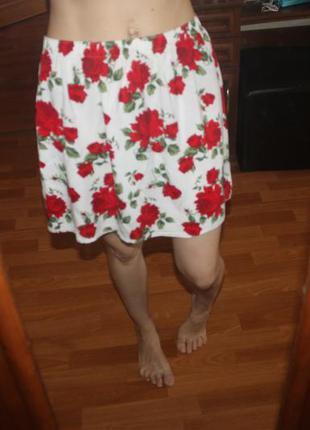 Юбка с розами 100% вискоза h&m