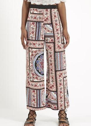 Штаны topshop petite scarf print wide leg trousers