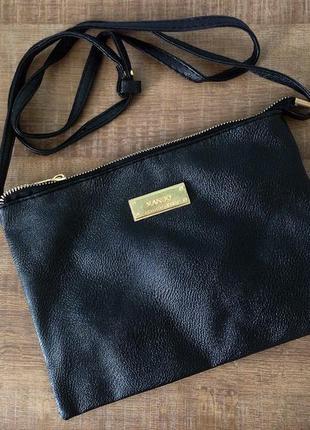 Черная сумка mango с длинным ремешком через плечо / клатч кроссбоди