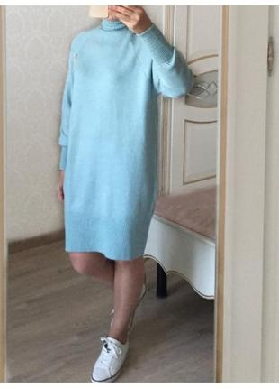Теплое платье туника под горло высокий ворот уник ментол меланж