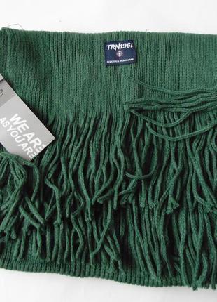 Зеленый шарф с бахромой terranova италия