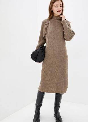 Теплое,оверсайз платье миди вязаное