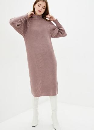 Теплое вязаное платье миди полушерстяное