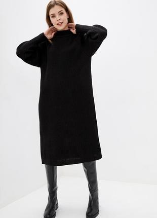 Свободное миди платье вязаное,теплое,полушерстяное