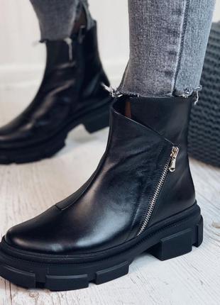 Ботинки женские натуральна кожа набивная шерсть