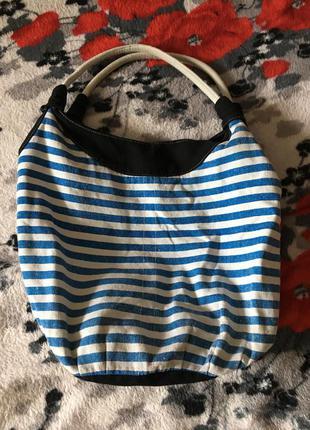 Стильная сумка мешок морской стиль полоска