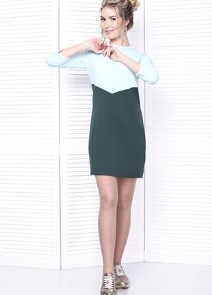 Новое платье теплое вязка трикотаж трапеция под горло с воротником двухцветное