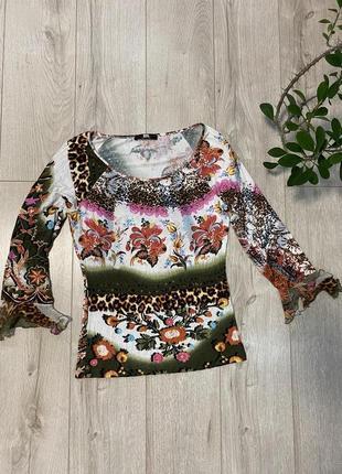 Italy 🇮🇹 блуза с рукавами «рушки»блуза в цветочный принт 💐1 фото