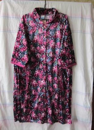 Халаты женские больших размеров велюровые 56-66 размер на пуговках