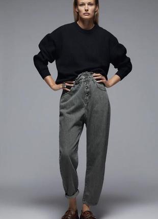 Нові джинси з еластичним поясом та високою посадкою zara 34, 36