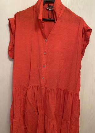 Платье 👗. zara m платье новое плечи 50 см пояс 40-45 см  длина 90 см  коралл