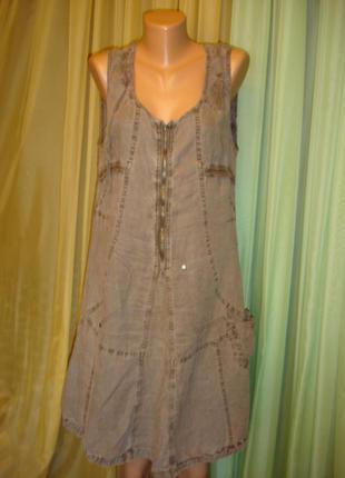 """Льняное стильное  платье """"e - woman""""  xl    p.r.c."""