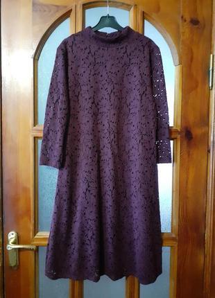 Кружевное платье цвет бургунди размер eur-40