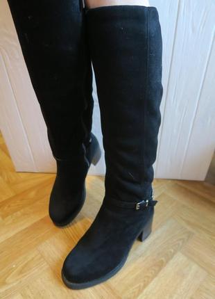 Зимние замшевые сапоги, сапожки на каблуке