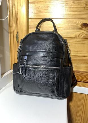 Черный кожаный женский рюкзак - сумка / женские кожаные рюкзаки / из натуральной кожи