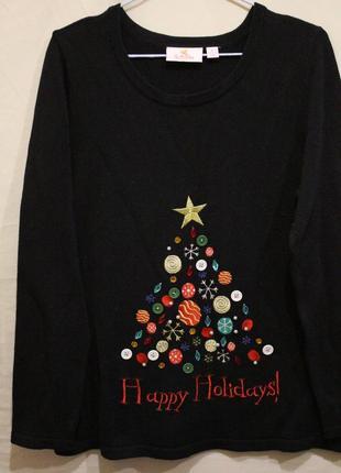 Новогодний расшитый свитер с елочкой