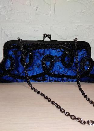 Кружевной синий клатч